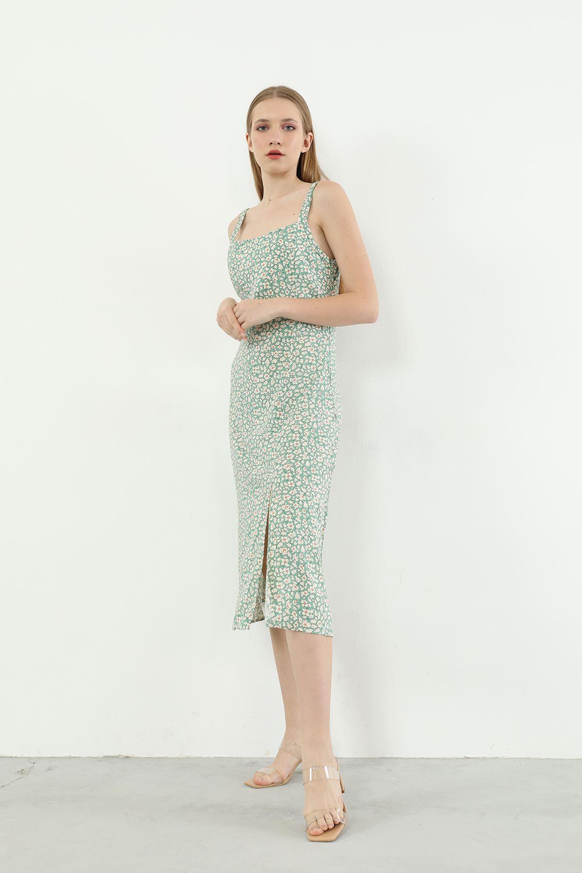 Çiçek Desen Askılı Elbise-Yeşil