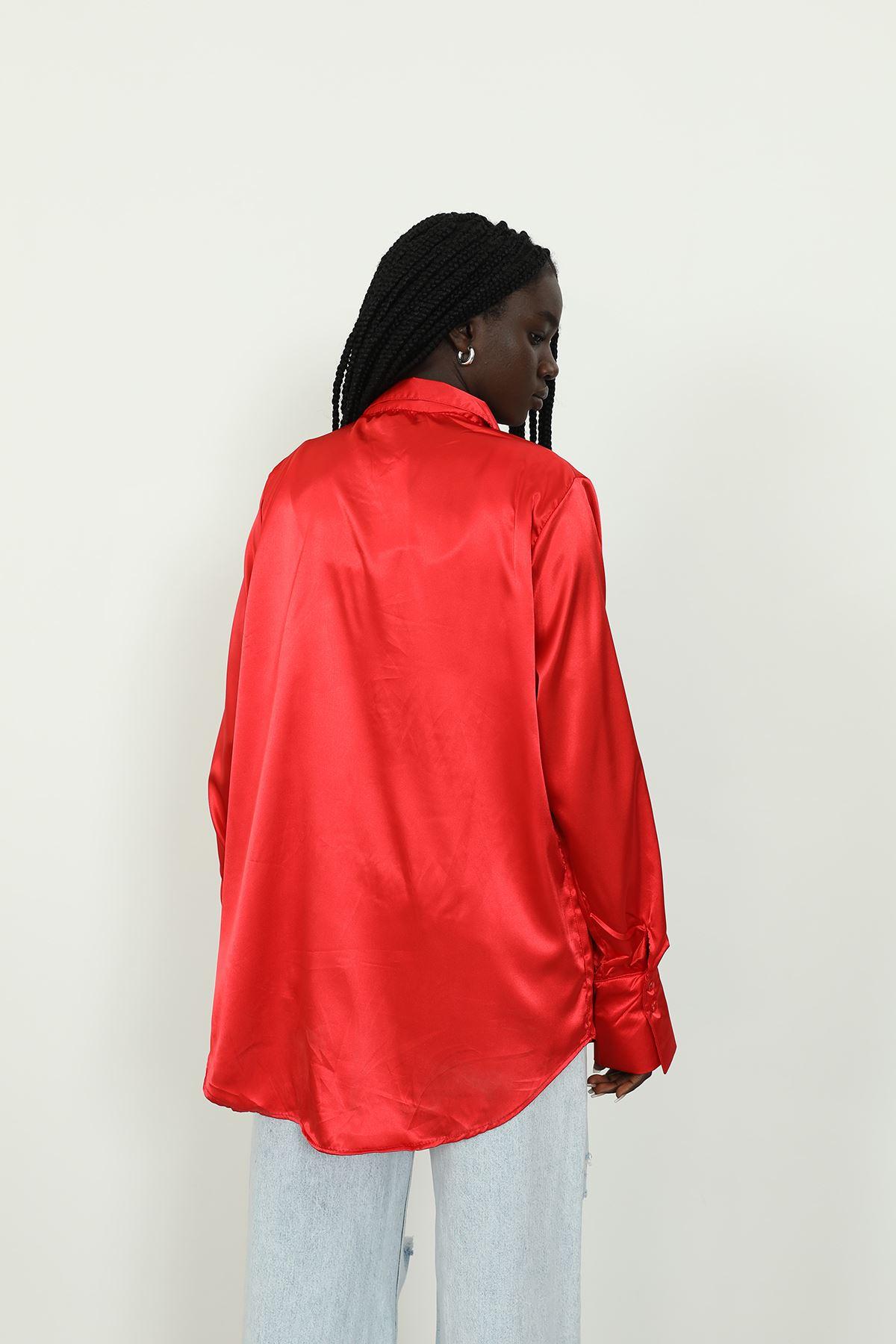 Saten Gömlek-Kırmızı