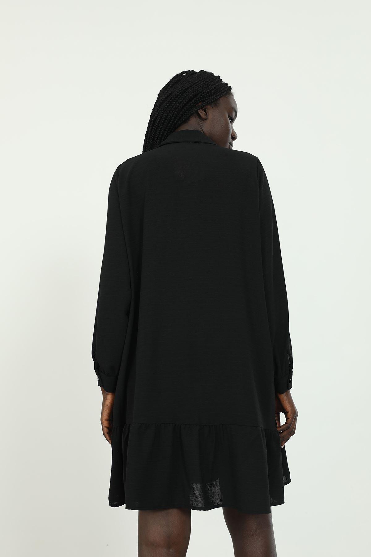 Eteği Fırfırlı Tunik-Siyah