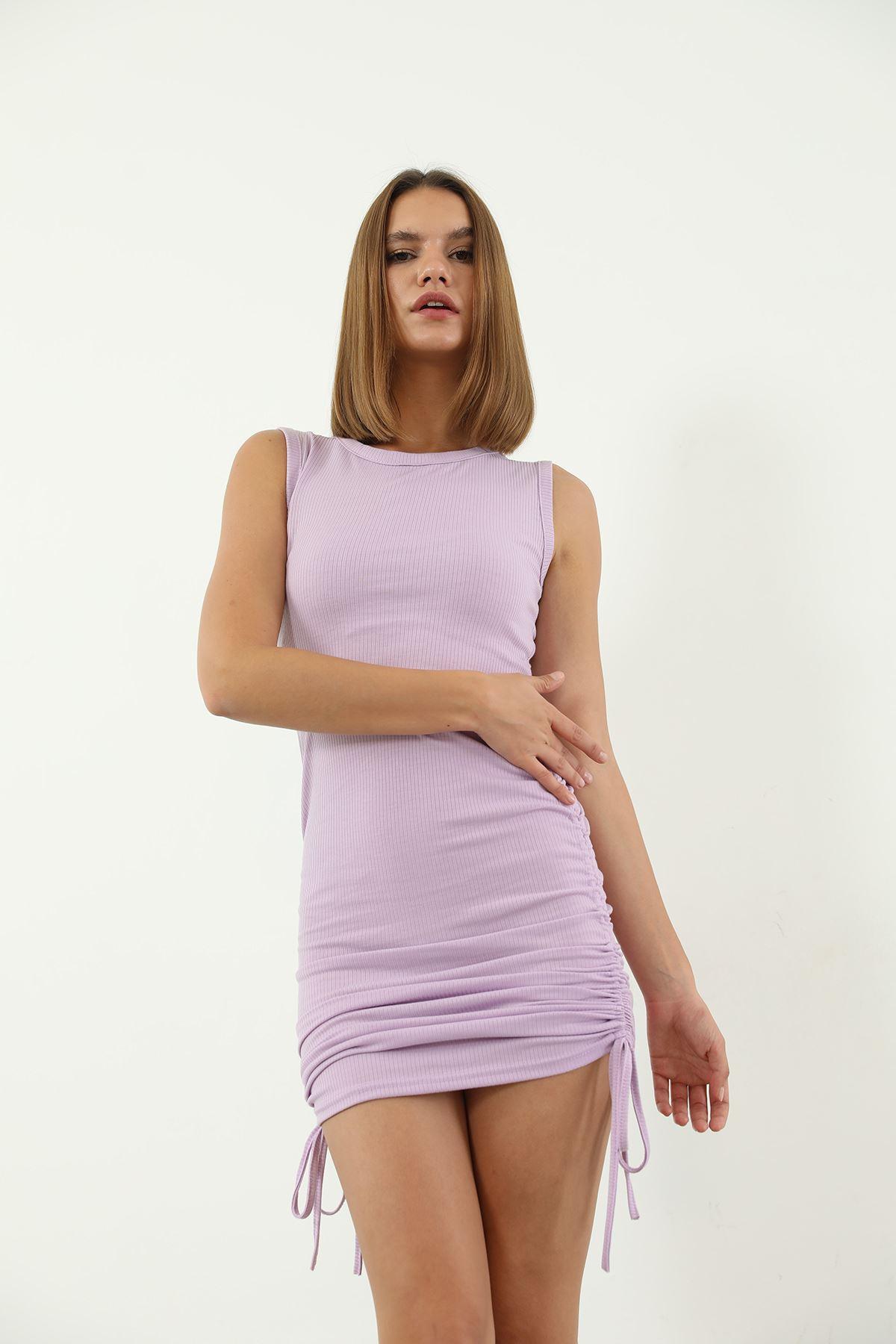 Büzgülü Kaşkorse Elbise-Lila