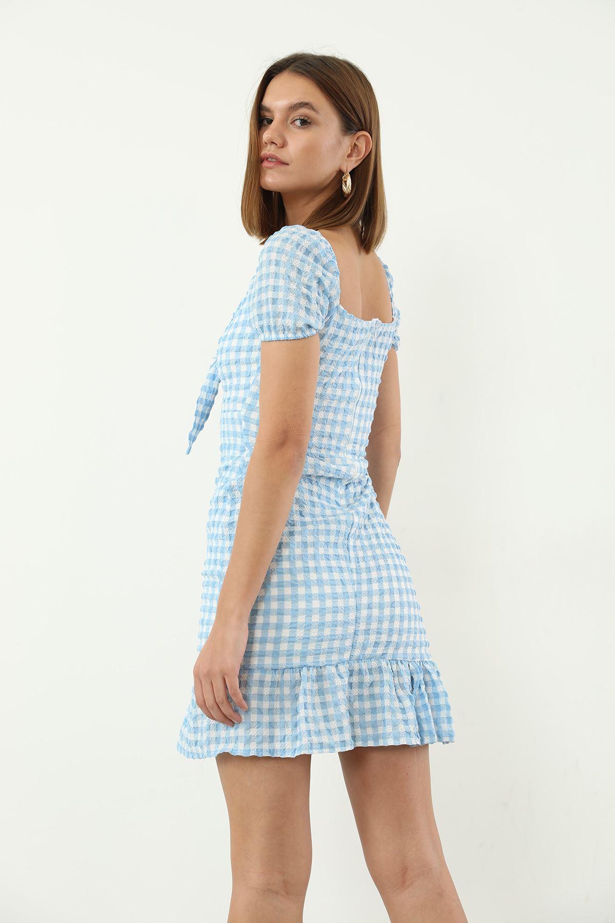 Ekose Desen Bağlamalı Elbise-Mavi