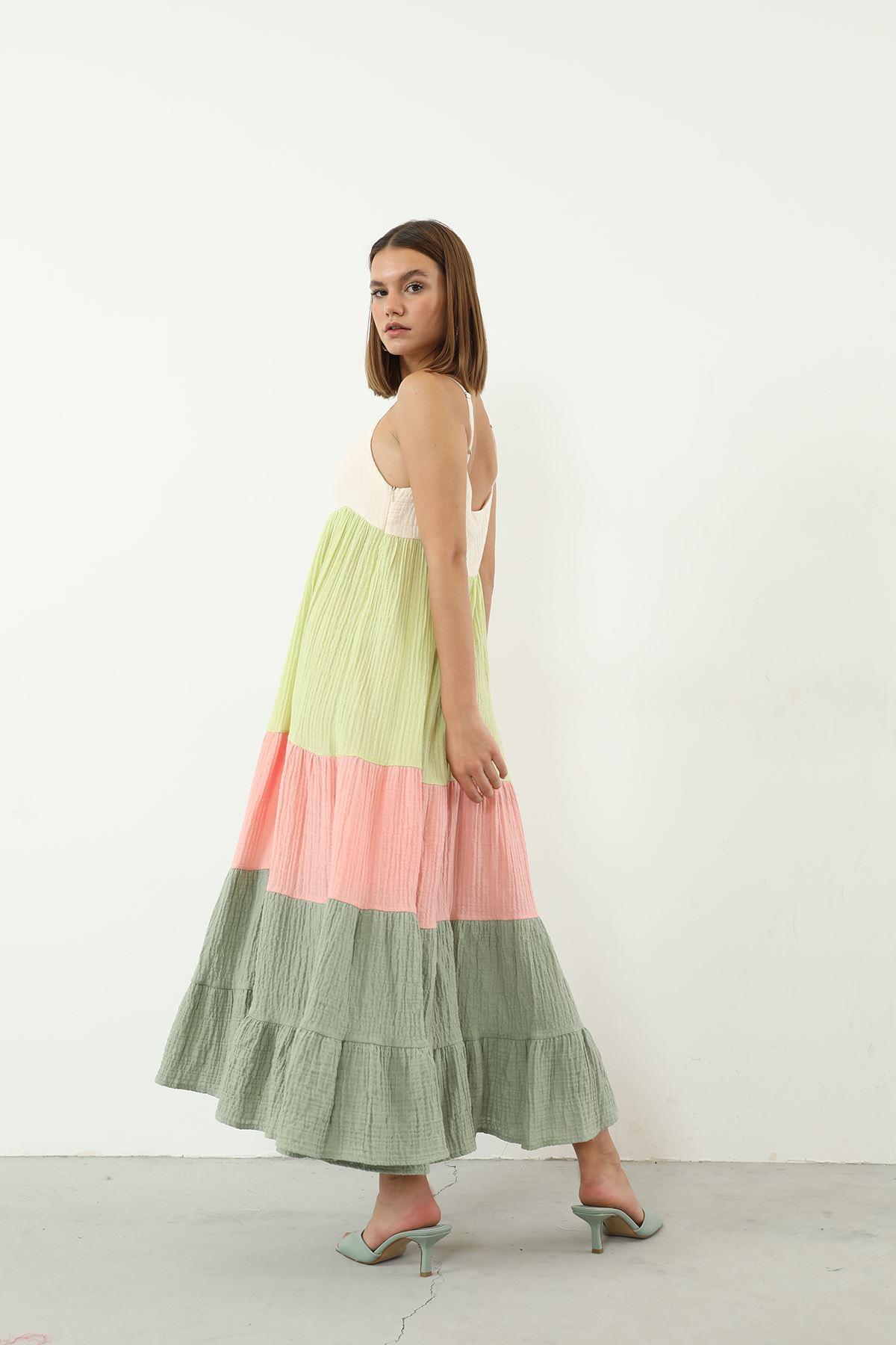 Askılı Elbise-Renkli