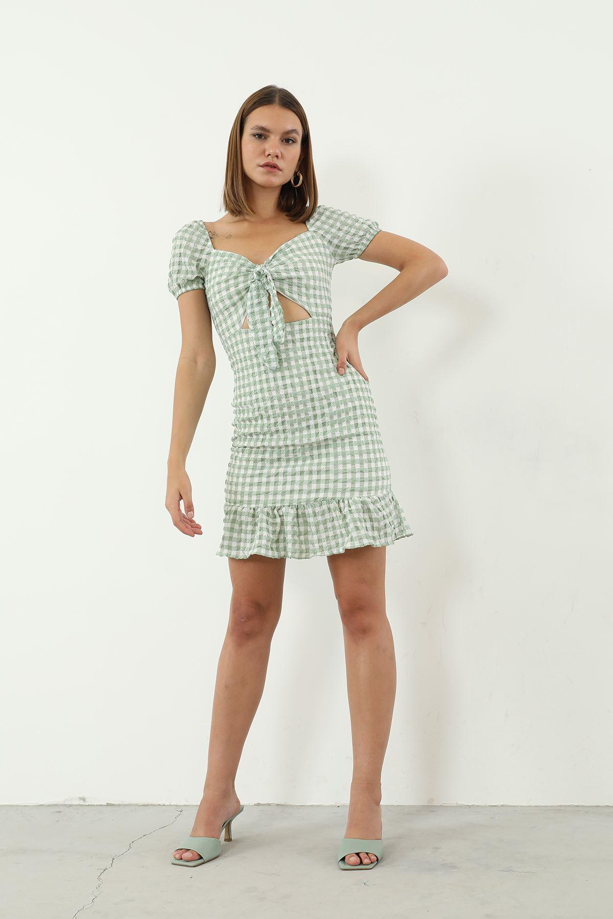 Ekose Desen Bağlamalı Elbise-Yeşil