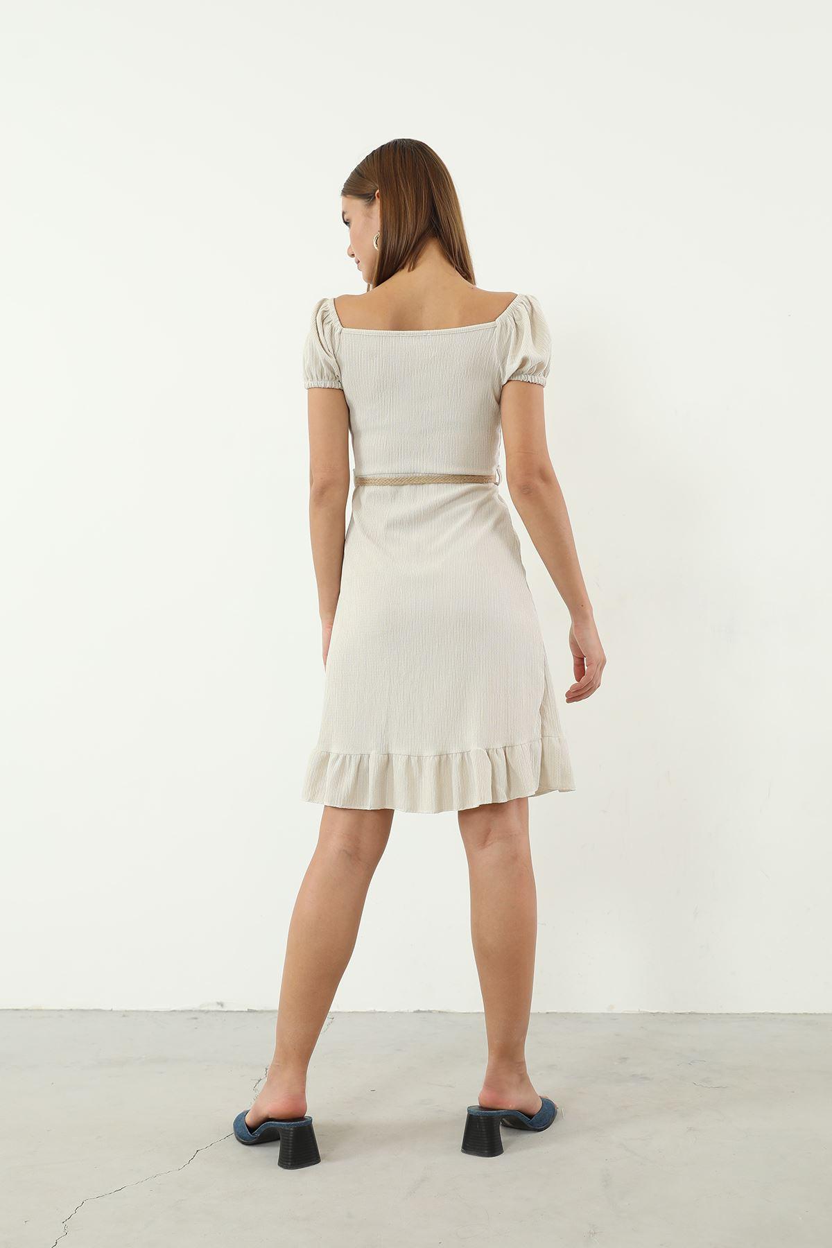 Hasır Kemerli Elbise-Taş