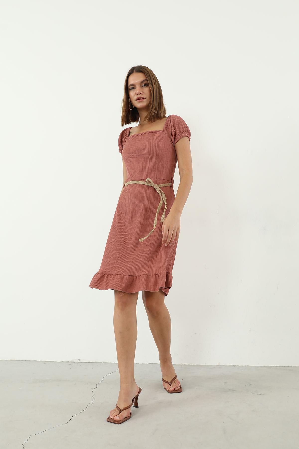 Hasır Kemerli Elbise-Gül Kurusu