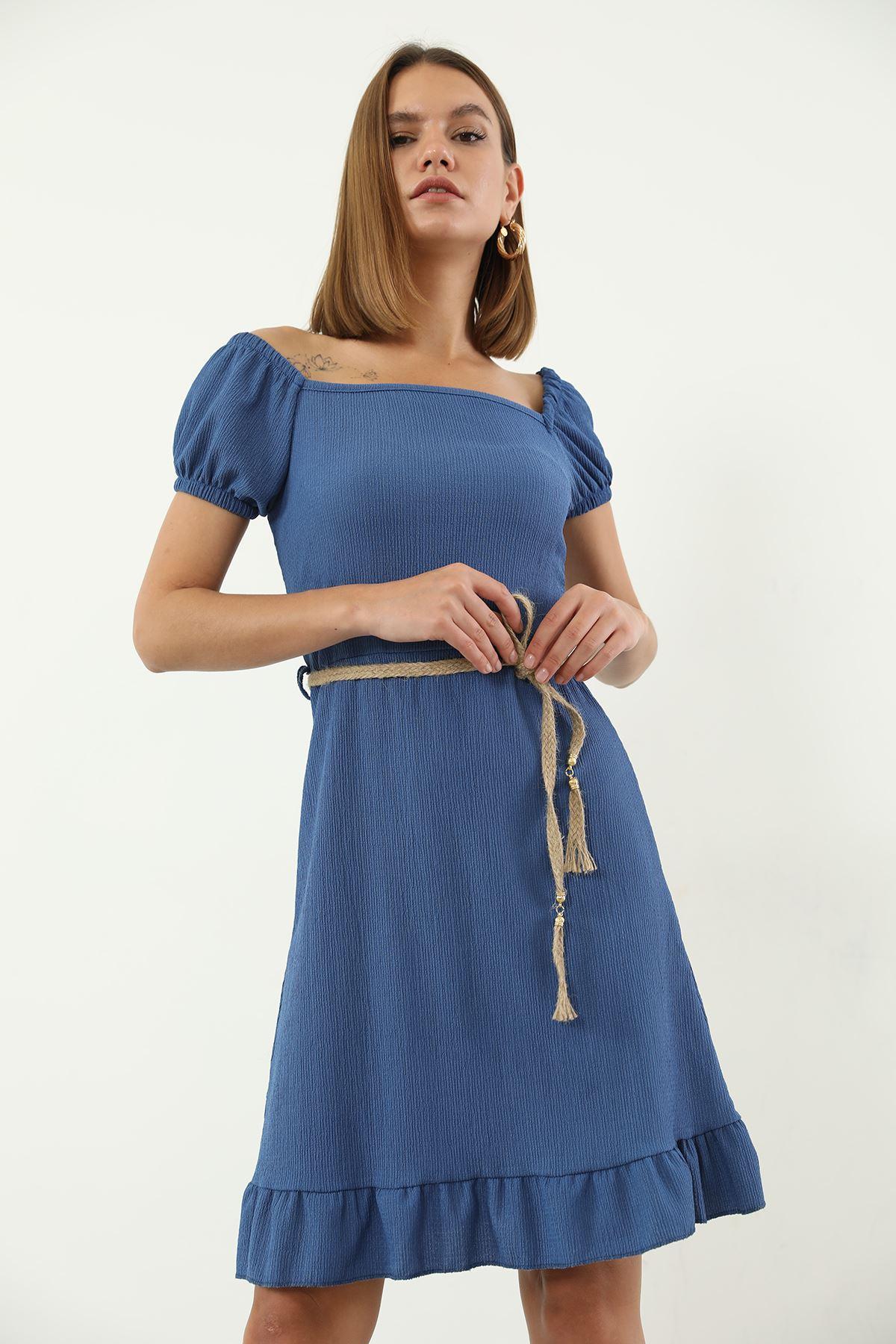 Hasır Kemerli Elbise-İndigo