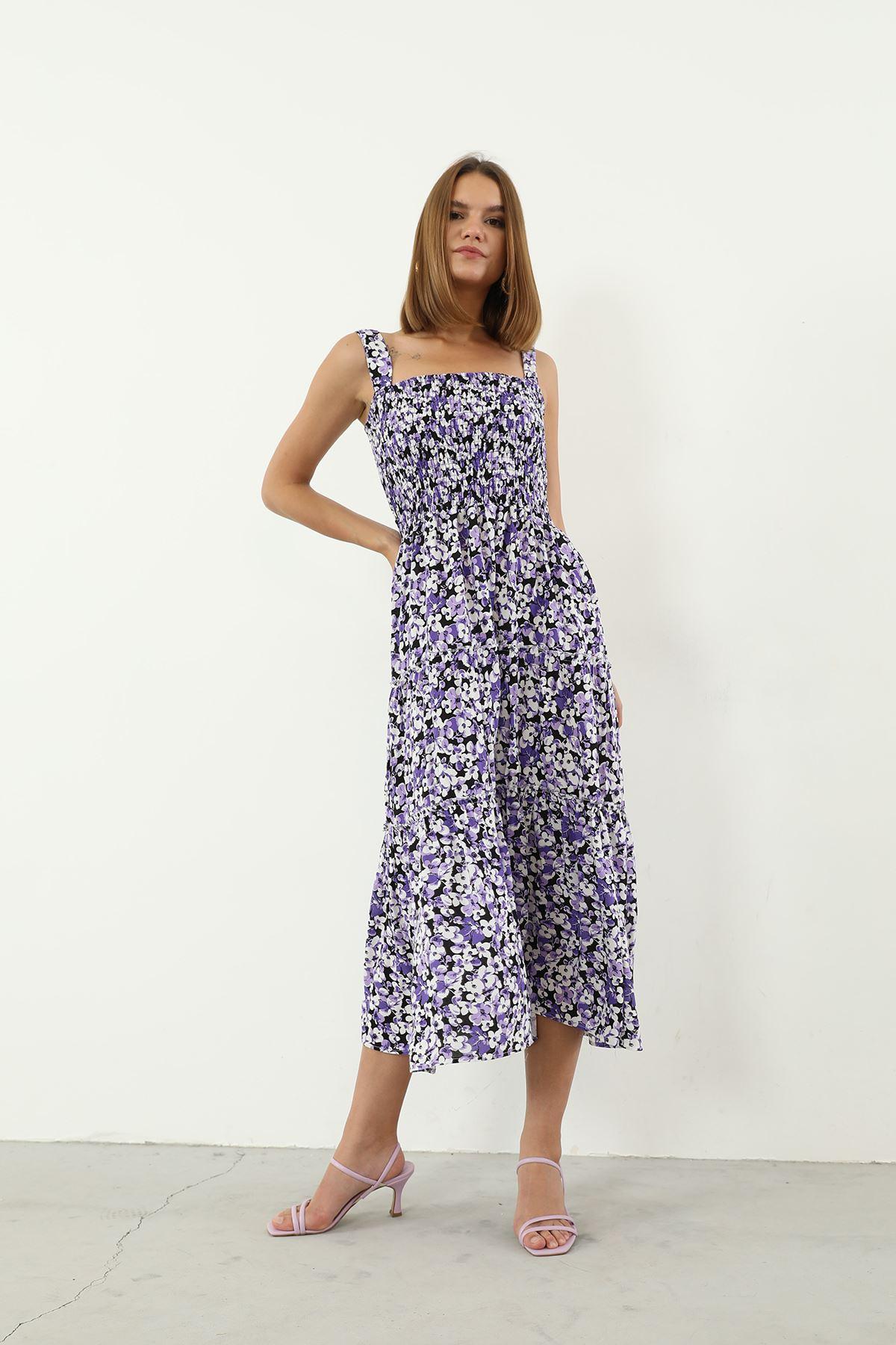 Çiçek Desen Gipeli Elbise-Mürdüm