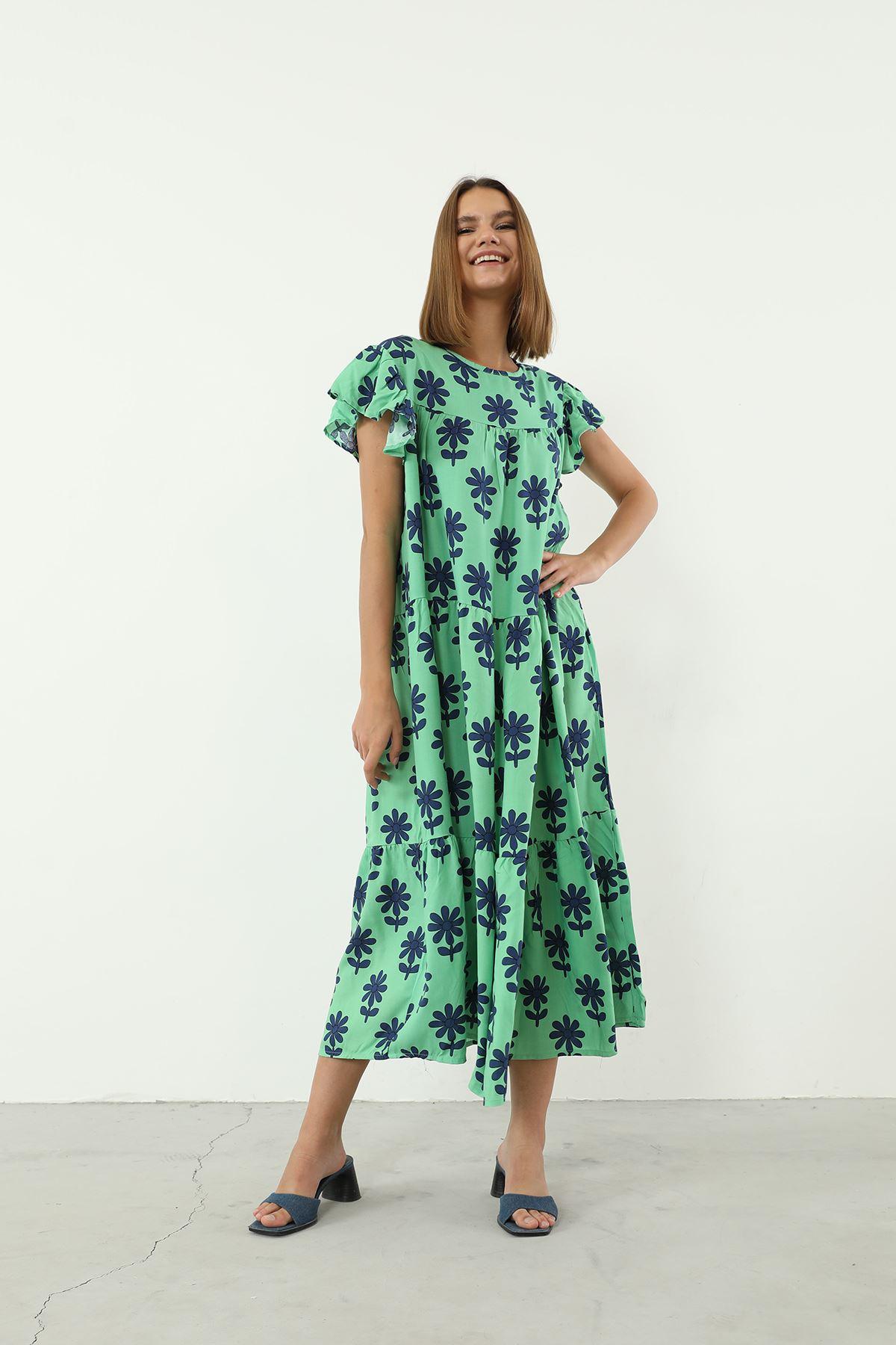 Salaş Desenli Elbise-Yeşil