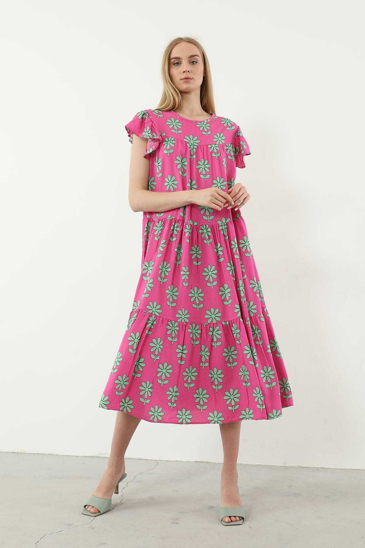 Salaş Desenli Elbise-Pembe