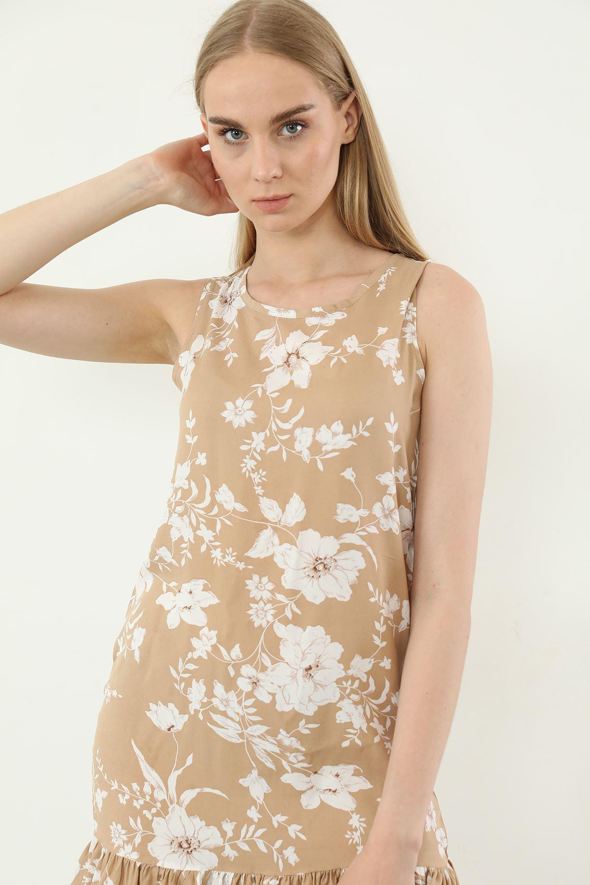 Sıfır Kol Desenli Elbise-Bej