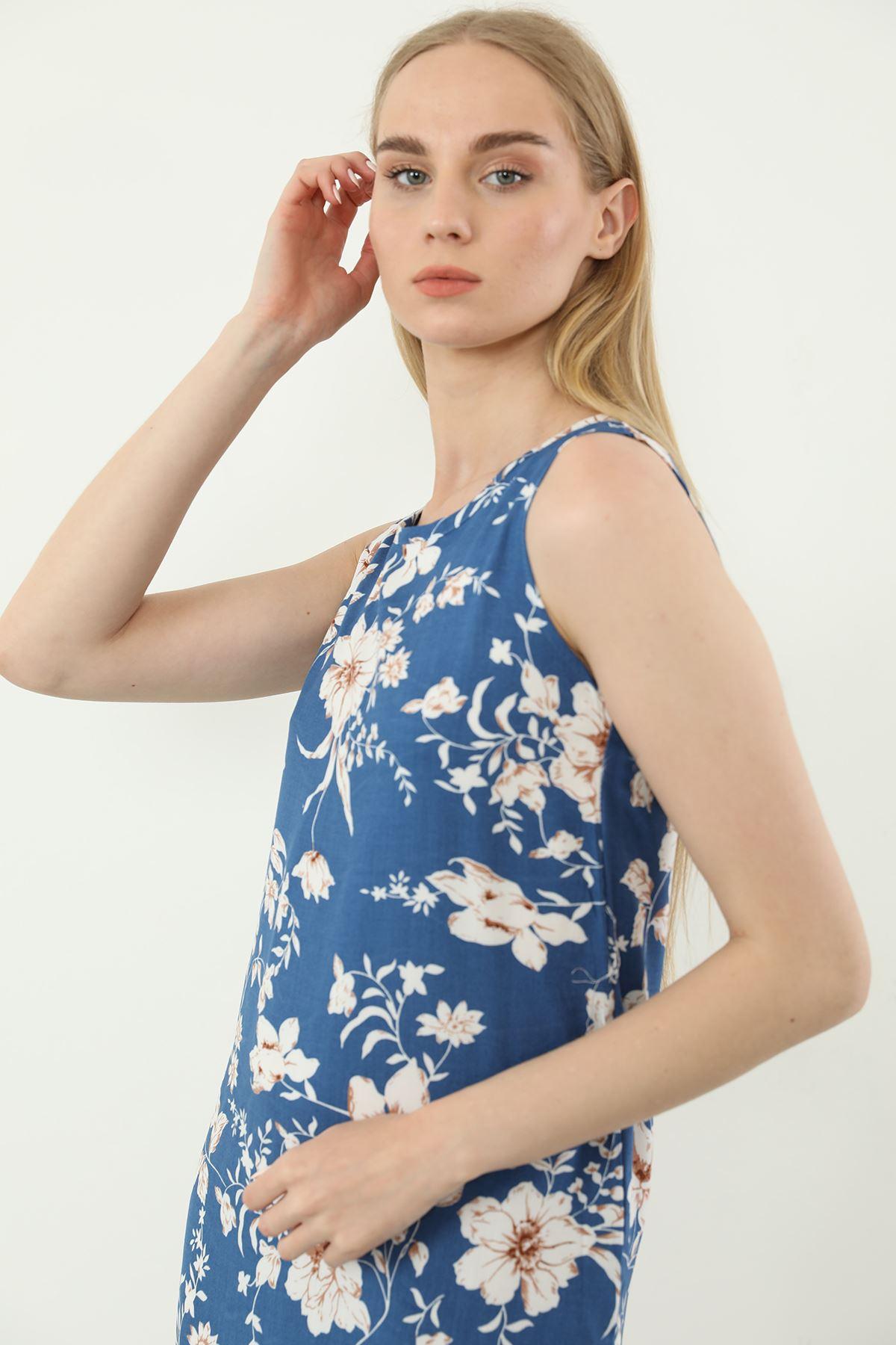 Sıfır Kol Desenli Elbise-Mavi
