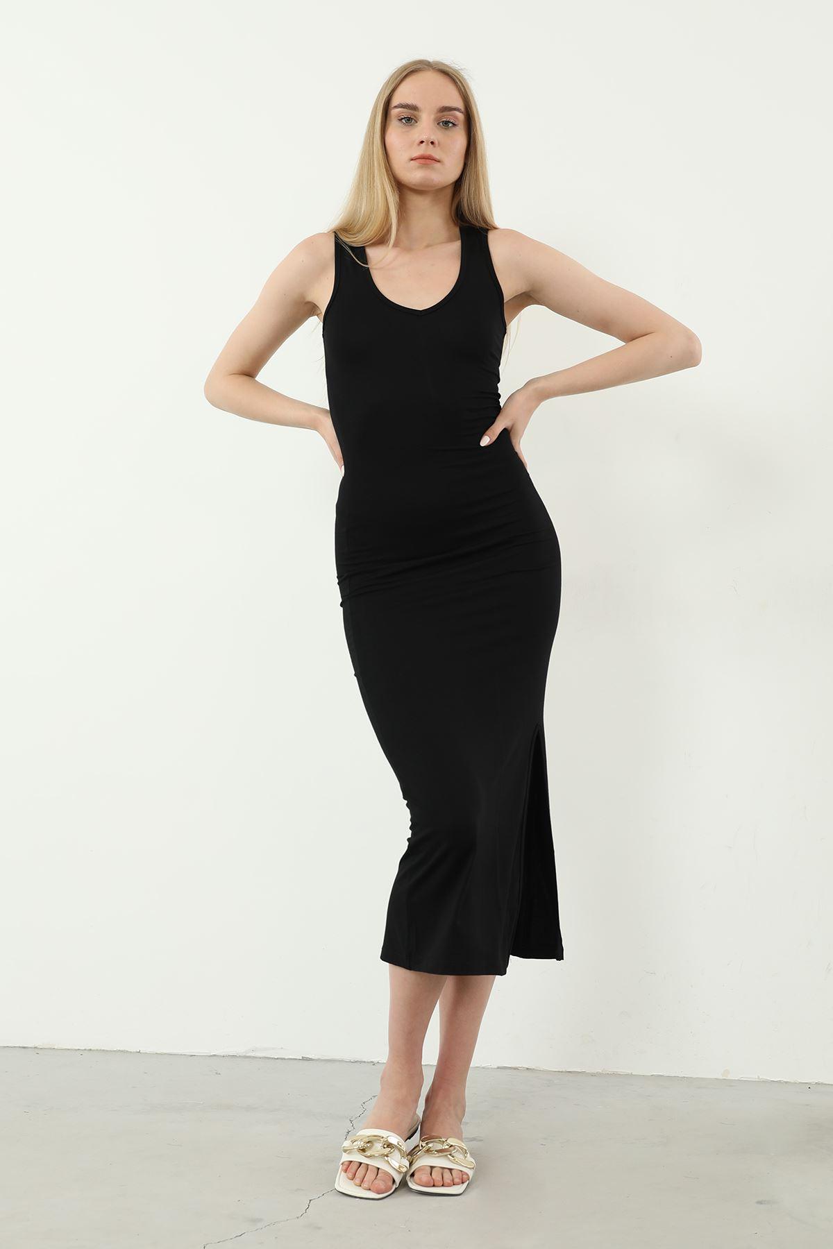 Sıfır Kol Yırtmaçlı Elbise-Siyah