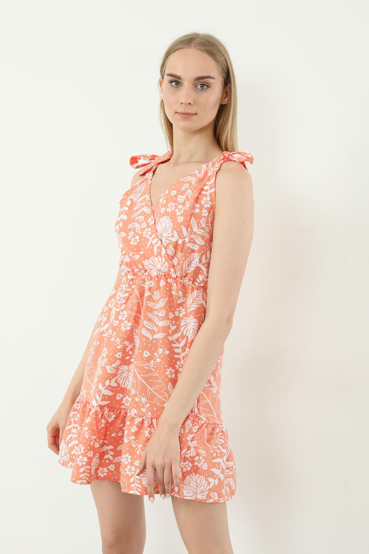 V Yaka Bağlamalı Elbise-Oranj