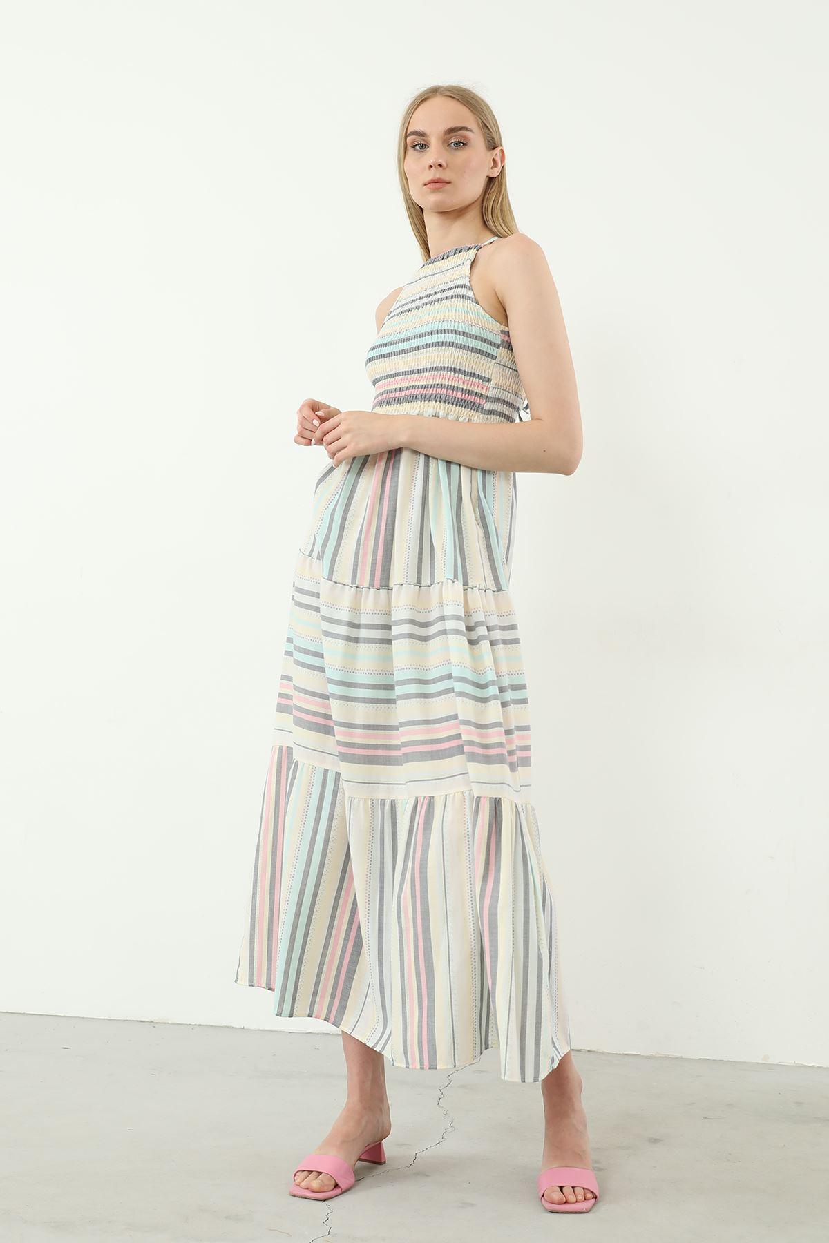 Çizgili Gipeli Elbise-Renkli