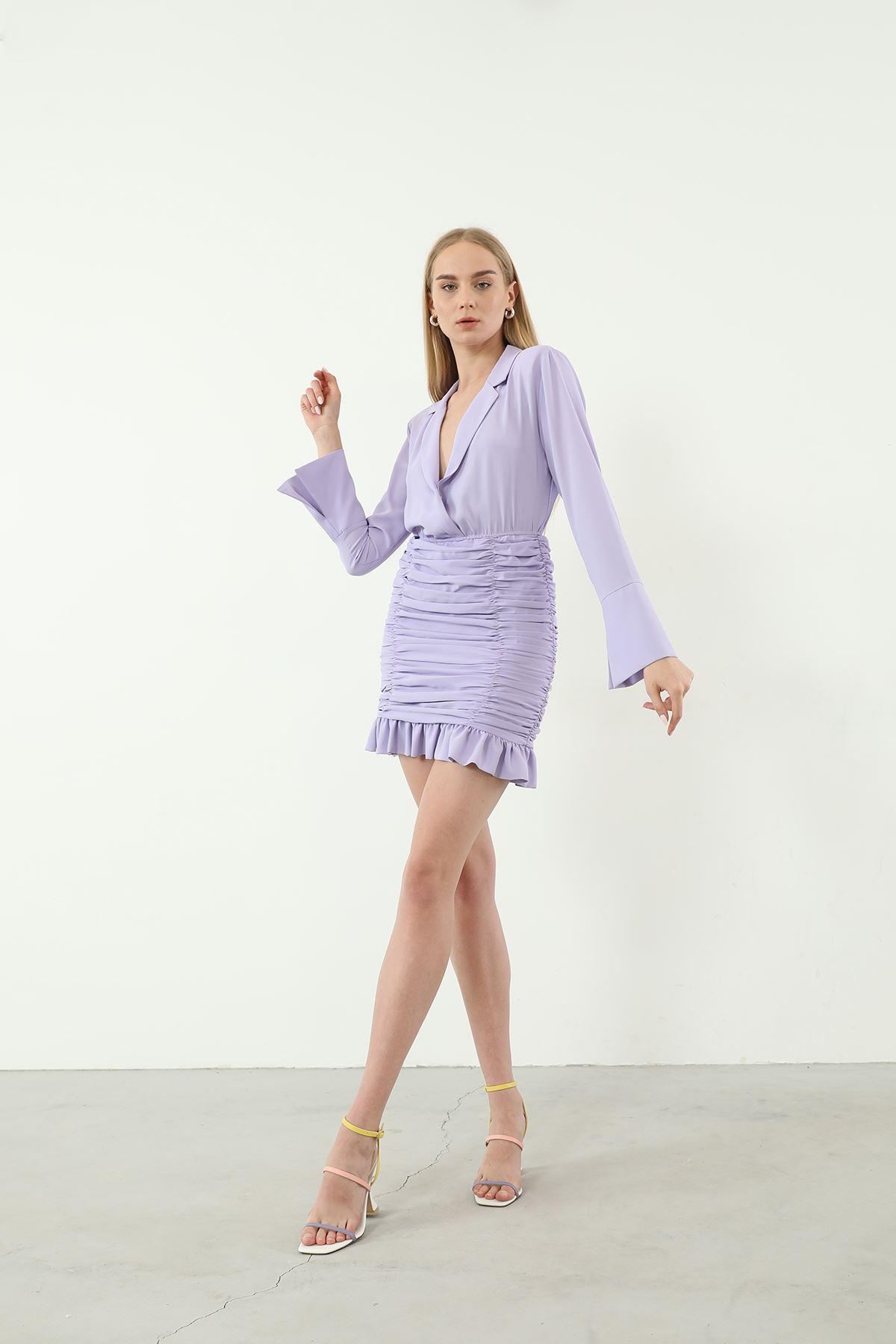 Eteği Fırfırlı Elbise-Lila