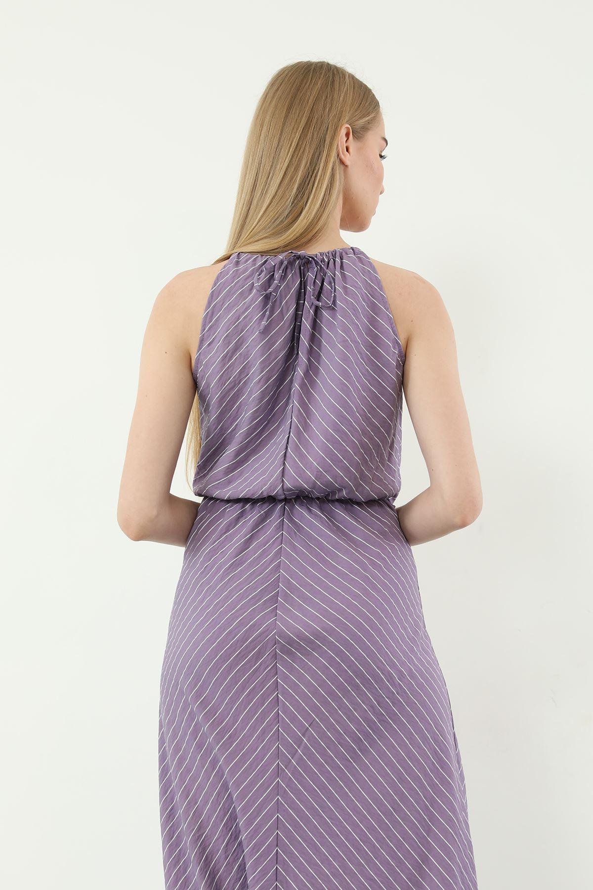 Çizgili Bağcıklı Elbise-Lila