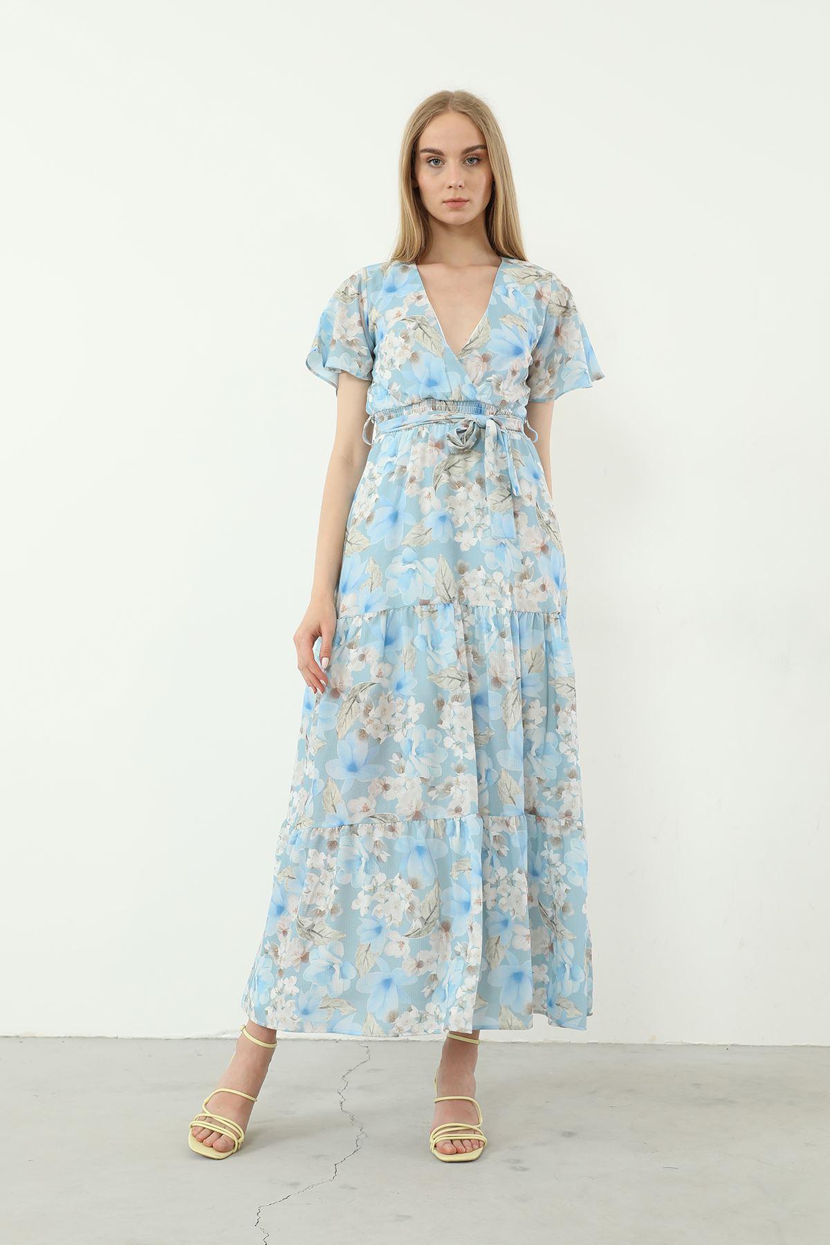 Kruvaze Yaka Kuşaklı Elbise-Mavi