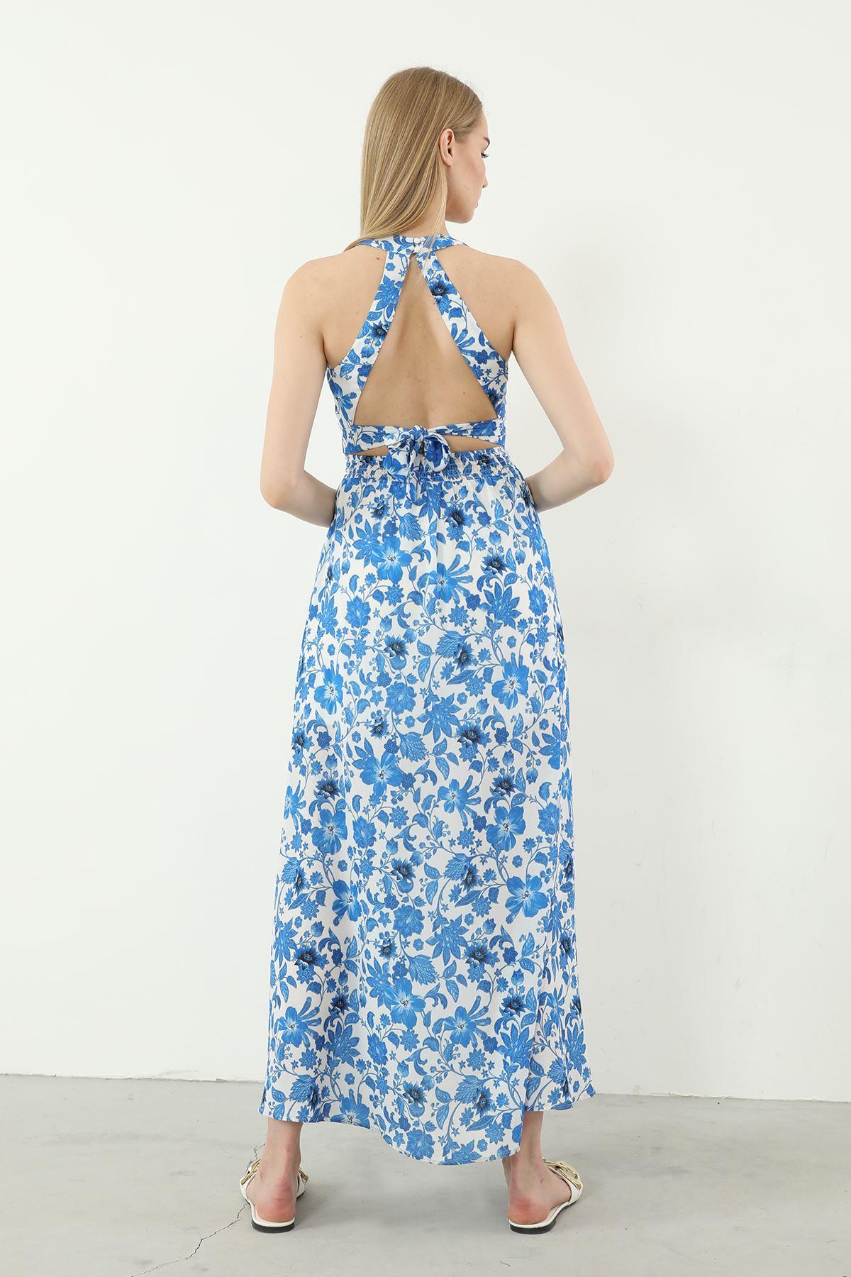 Kolsuz Yırtmaçlı Elbise-Saks