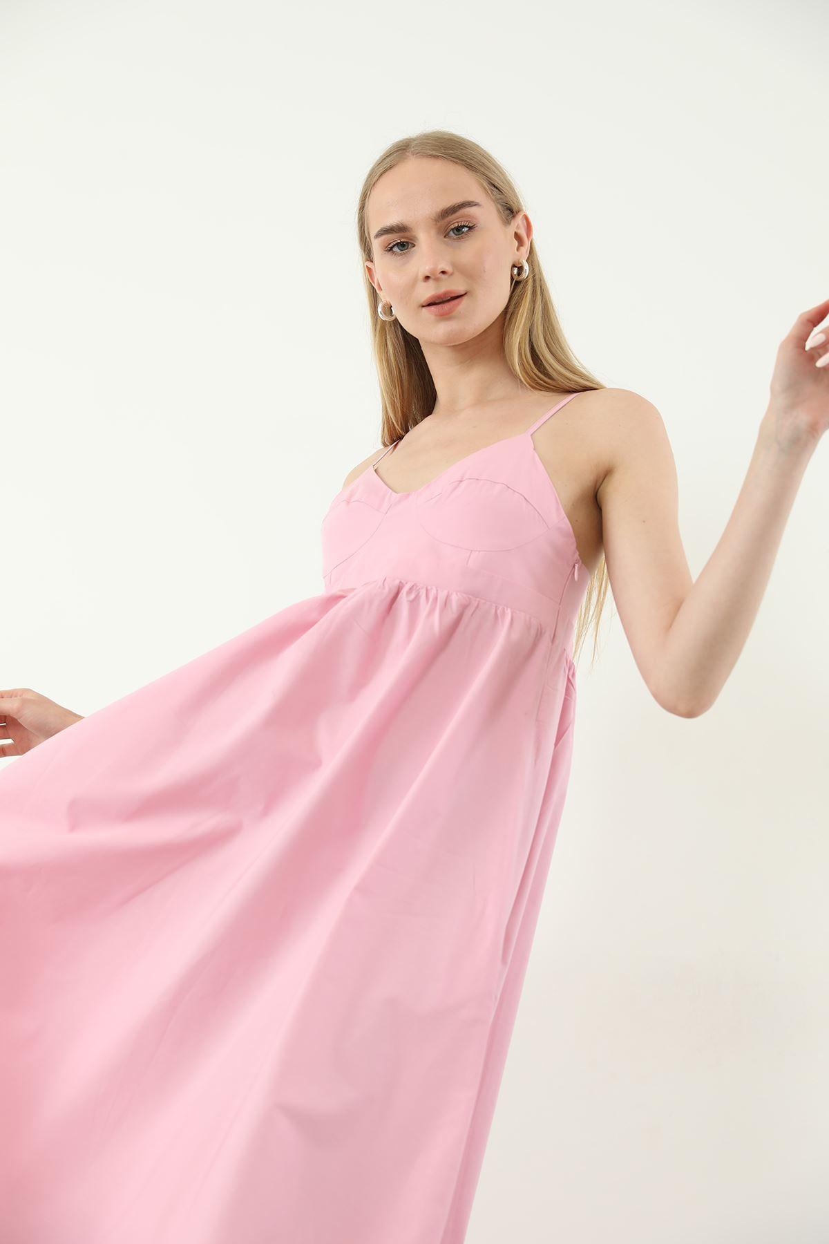 Askılı Poplin Elbise-Pudra