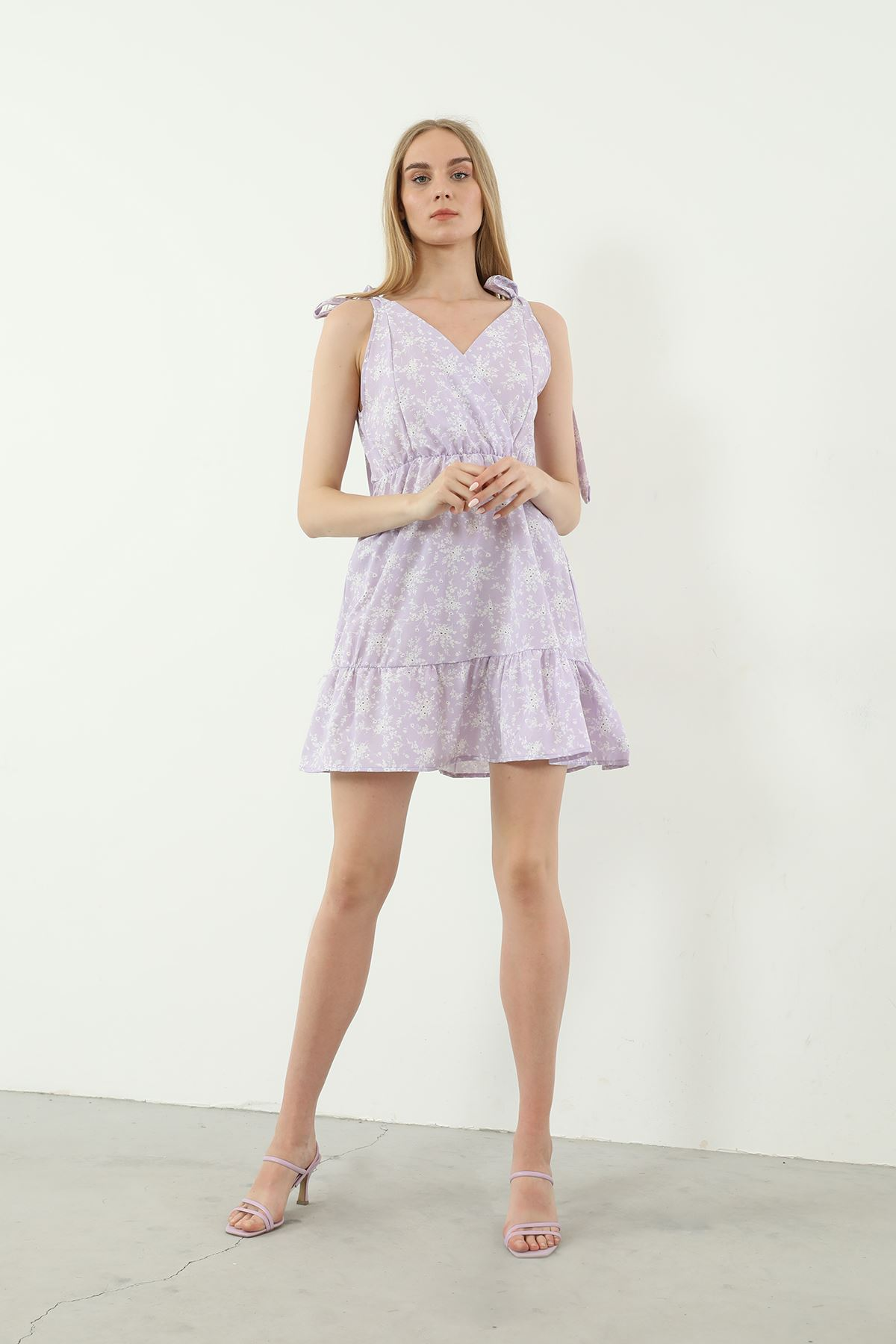 V Yaka Bağlamalı Elbise-Lila