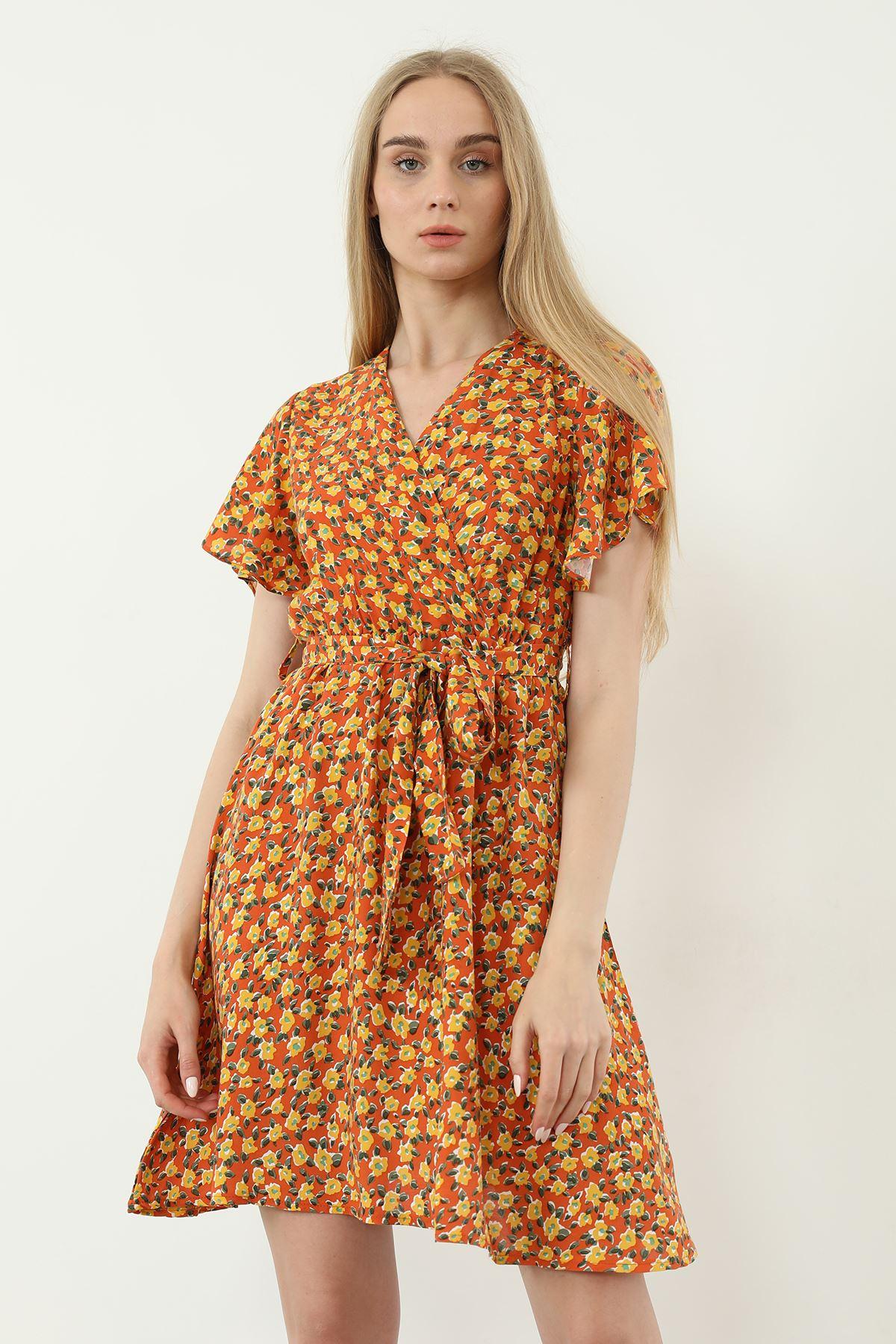 Çiçek Desen Kuşaklı Elbise-Oranj