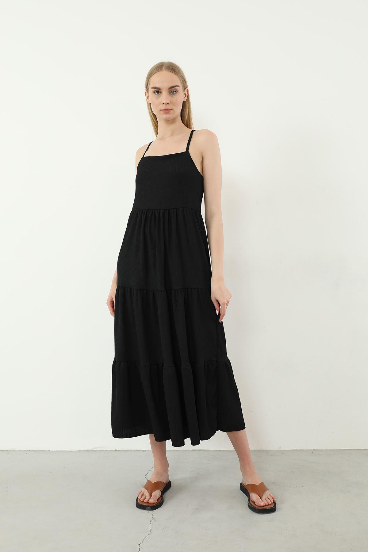 Askılı Uzun Elbise-Siyah