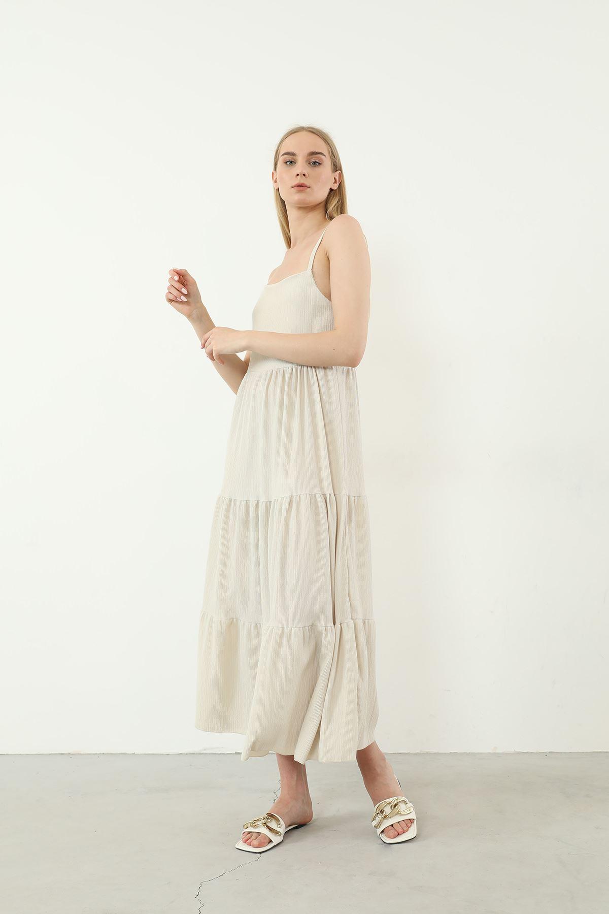 Askılı Uzun Elbise-Taş