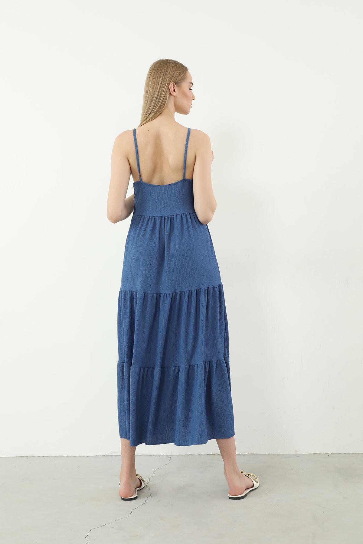 Askılı Uzun Elbise-İndigo