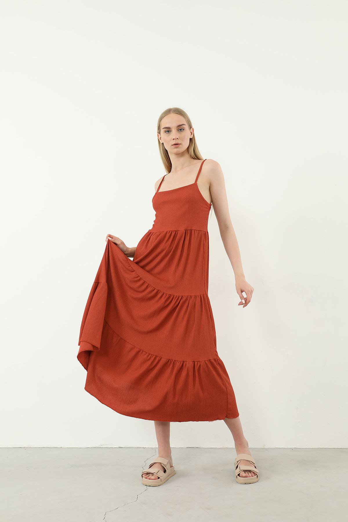 Askılı Uzun Elbise-Kiremit