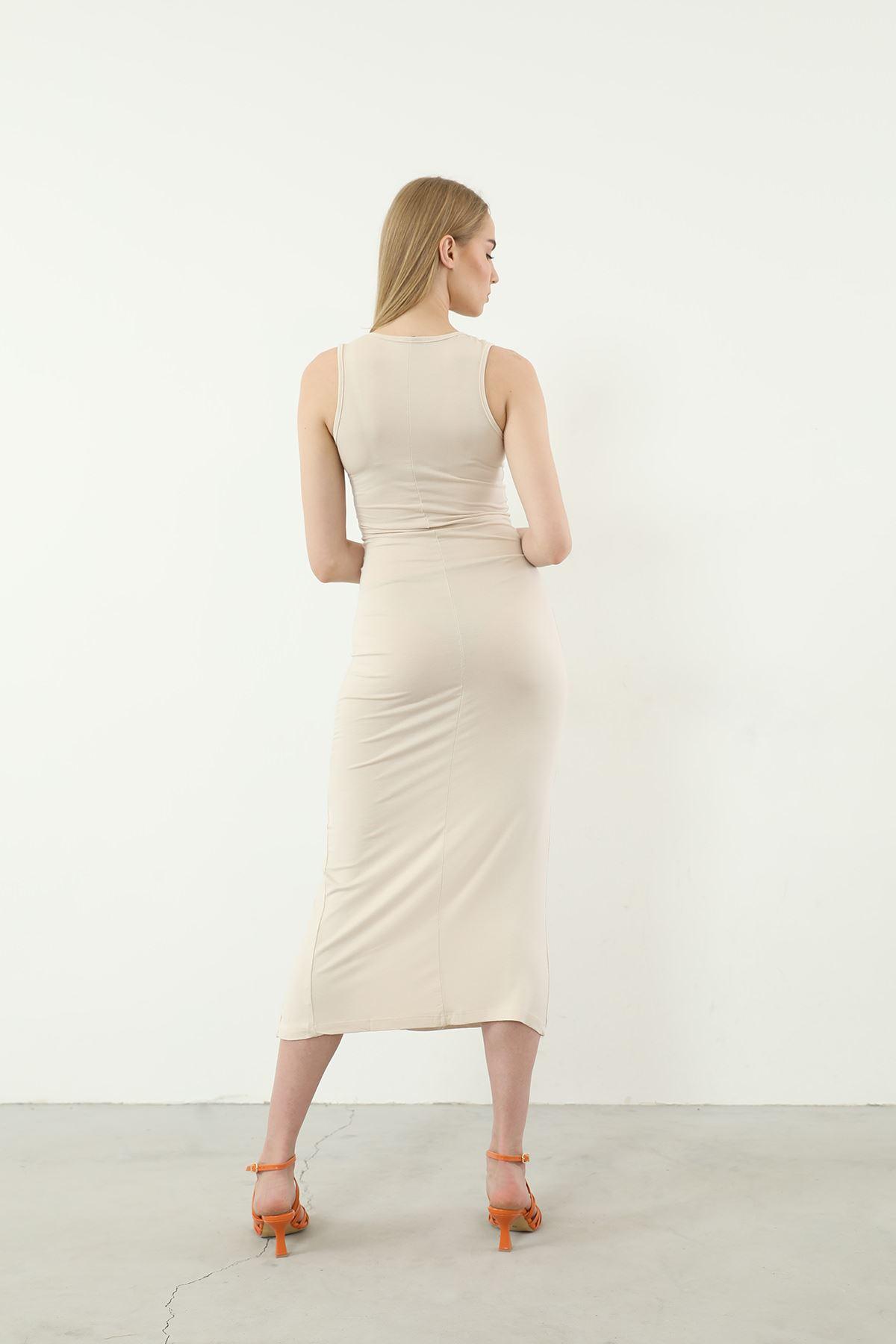Sıfır Kol Yırtmaçlı Elbise-Taş