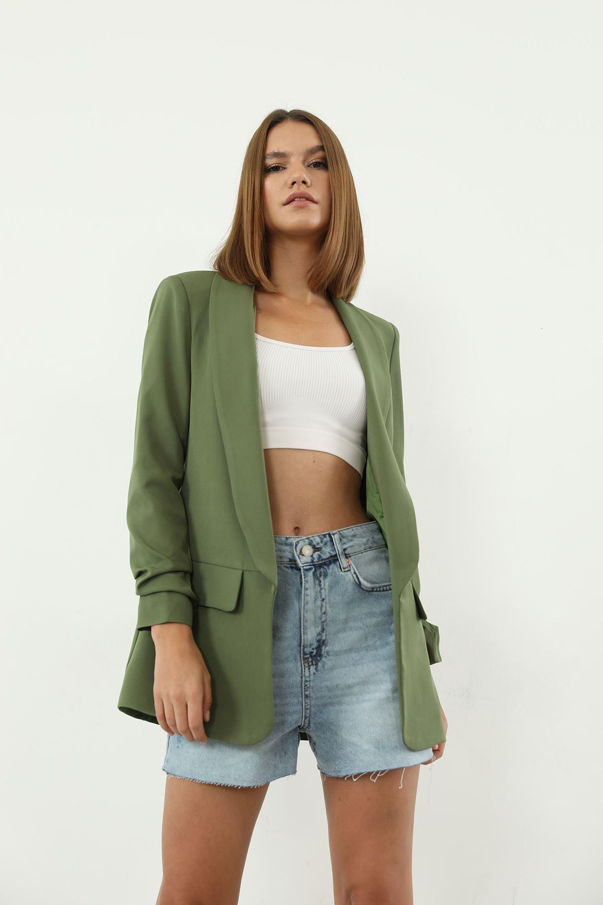 Kolu Büzgülü Ceket-Yeşil