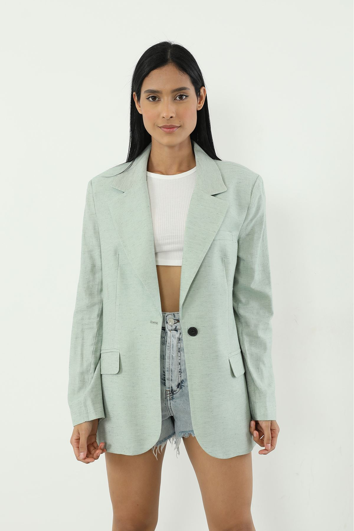 Tek Düğme Ceket-Mint