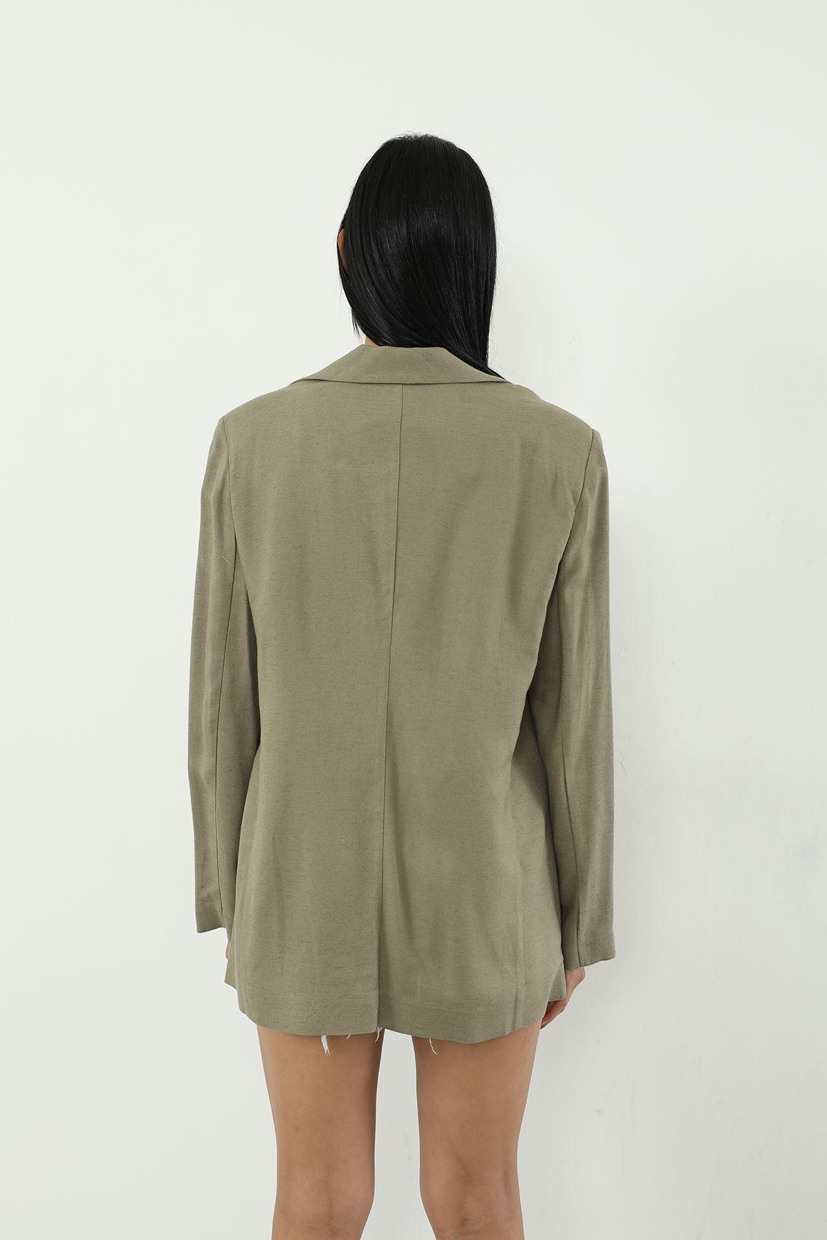 Tek Düğme Ceket-Haki